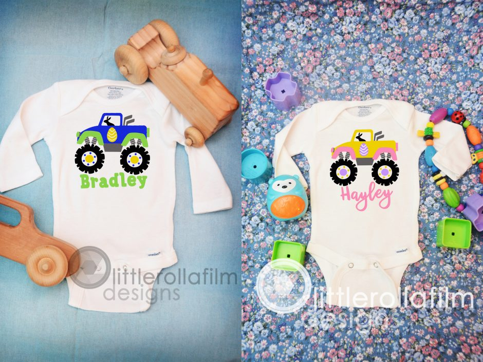 Easter Monster Truck Baby Bodysuits