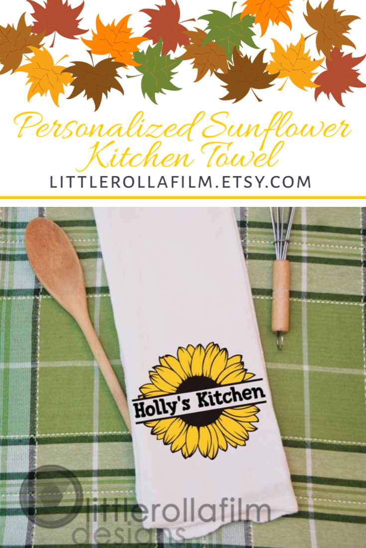 Personalized Sunflower Kitchen Towel